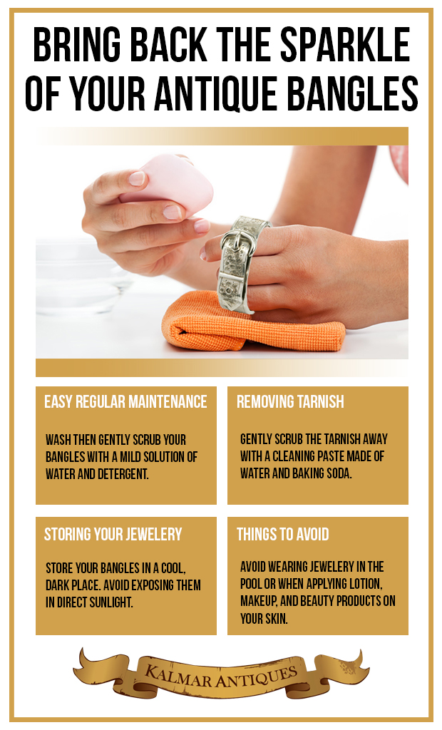 Caring for Antique Bangles and Other Delicate Jewelry Infographic