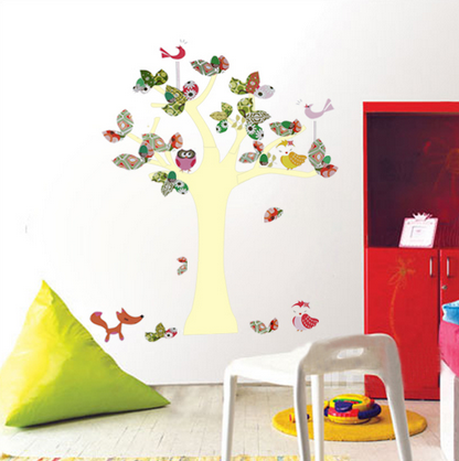 COLORFUL TREE AND OWLS WALL DECAL KINDERGARTEN WALL STICKER