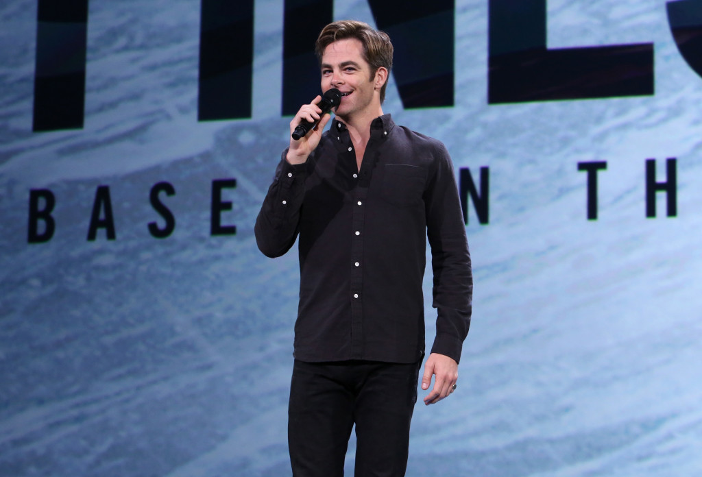 """ANAHEIM, CA - AUGUST 15: Actor Chris Pine of THE FINEST HOURS took part today in """"Worlds, Galaxies, and Universes: Live Action at The Walt Disney Studios"""" presentation at Disney's D23 EXPO 2015 in Anaheim, Calif. THE FINEST HOURS will be released in U.S. theaters on January 29, 2016. (Photo by Jesse Grant/Getty Images for Disney) *** Local Caption *** Chris Pine"""